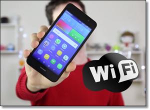 Смартфон HUAWEI и логотип сети Wi-Fi