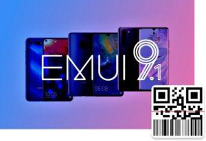 Логотип EMUI 9.1 с QR-кодом
