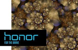 Логотип Honor на фоне фрактала