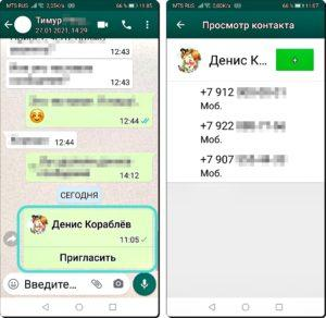 11 и 12 Контакты по WhatsApp